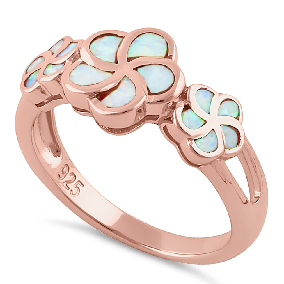 Sterling Silver Rose Gold Plumeria White Lab Opal Ring