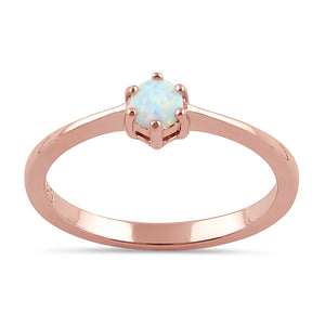 Sterling Silver Rose Gold Round White Lab Opal Ring