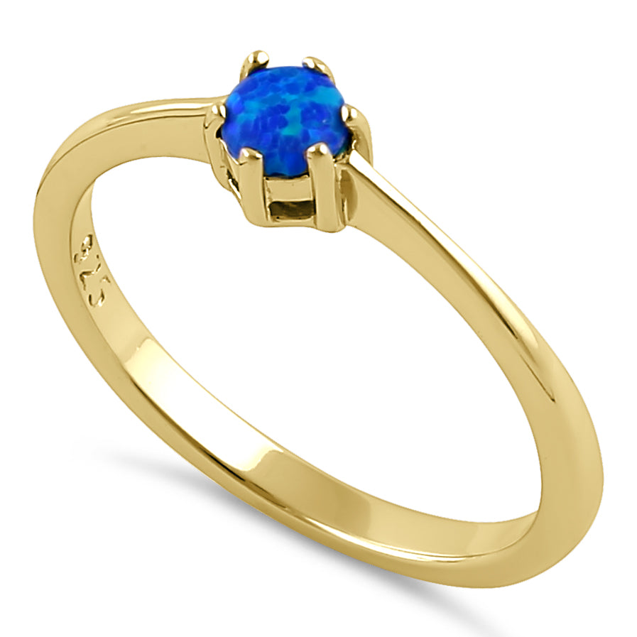 Sterling Silver Gold Plated Round Blue Lab Opal Ring