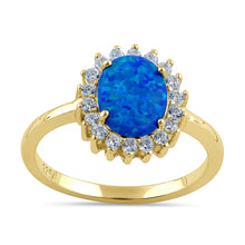 Load image into Gallery viewer, Sterling Silver Gold Plated Oval Blue Lab Opal CZ Ring