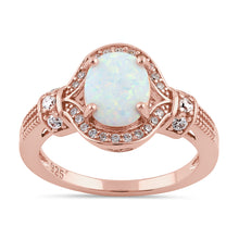 Load image into Gallery viewer, Sterling Silver Rose Gold Elegant White Oval Lab Opal CZ Ring
