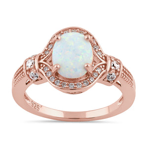 Sterling Silver Rose Gold Elegant White Oval Lab Opal CZ Ring
