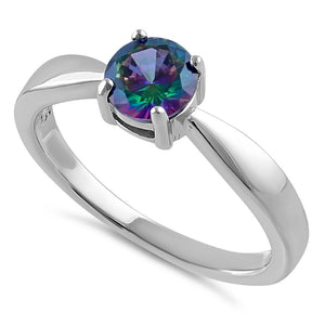 Sterling Silver 6mm Round Rainbow CZ Ring