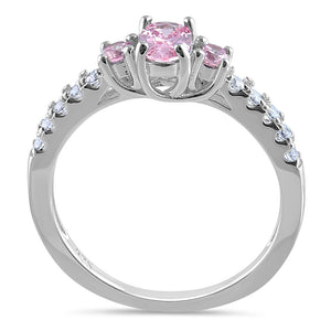 Sterling Silver Enchanted Oval Pink CZ Ring