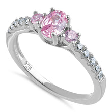 Load image into Gallery viewer, Sterling Silver Enchanted Oval Pink CZ Ring