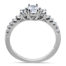 Load image into Gallery viewer, Sterling Silver Enchanted Oval Clear CZ Ring