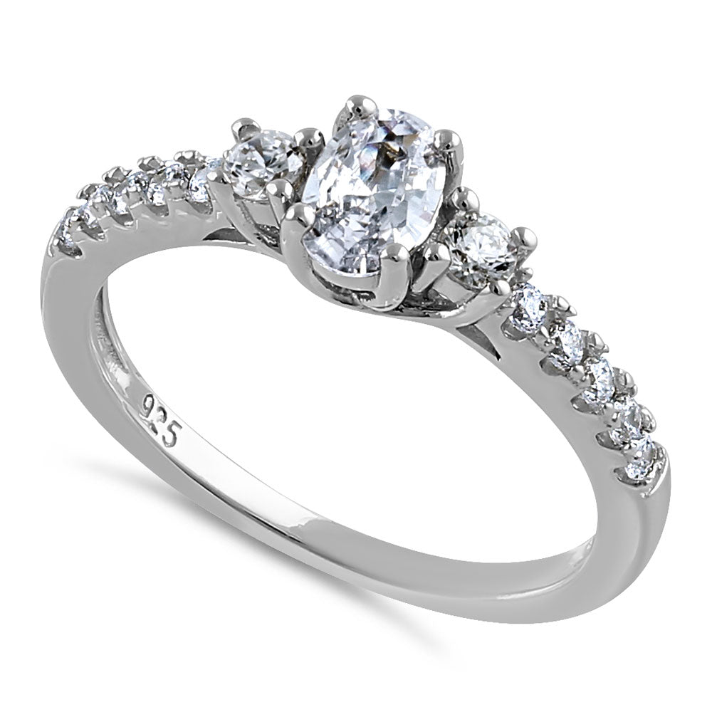 Sterling Silver Enchanted Oval Clear CZ Ring