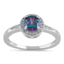 Load image into Gallery viewer, Sterling Silver Elegant Round Halo Rainbow CZ Ring