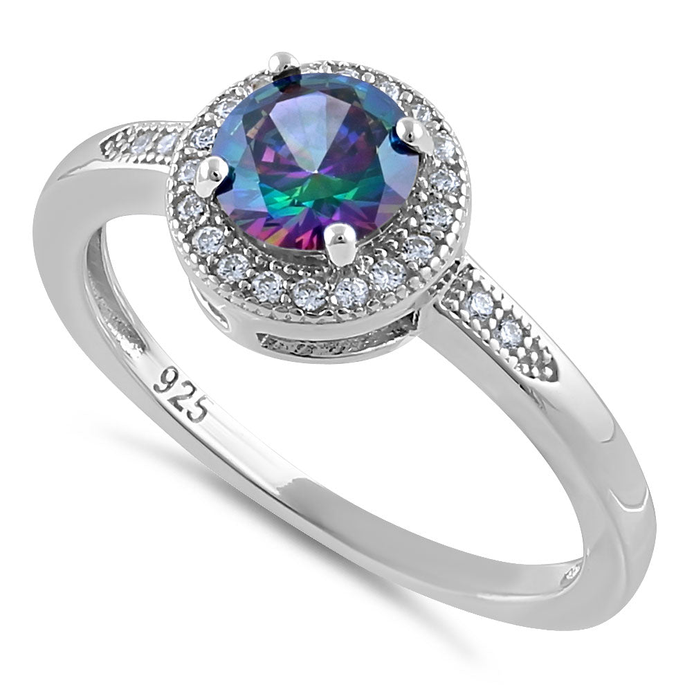Sterling Silver Elegant Round Halo Rainbow CZ Ring