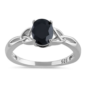 Sterling Silver Charmed Oval Black CZ Ring