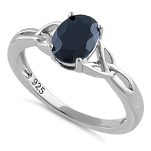 Load image into Gallery viewer, Sterling Silver Charmed Oval Black CZ Ring