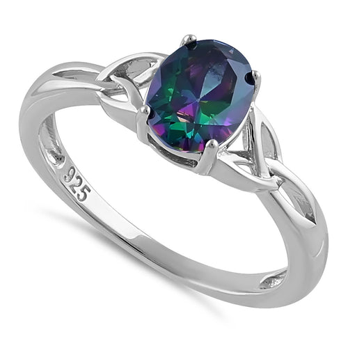 Sterling Silver Charmed Oval Rainbow CZ Ring