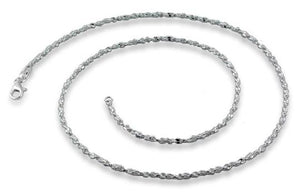 Sterling Silver Twisted Serpentine Chain Necklace - 2.3MM
