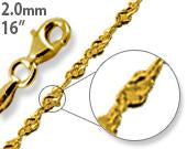"Load image into Gallery viewer, 14K Gold Plated Sterling Silver 16"" Singapore Twist Chain 2.0MM"