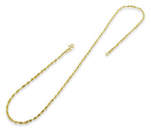 Load image into Gallery viewer, 14K Gold Plated Sterling Silver Singapore Twist Chain 2.0MM