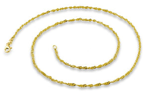 "14K Gold Plated Sterling Silver 16"" Singapore Twist Chain 2.0MM"