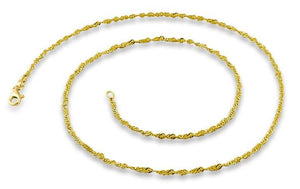 14K Gold Plated Sterling Silver Singapore Twist Chain 2.0MM