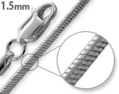 Load image into Gallery viewer, Rhodium Sterling Silver Snake Chain 1.5MM