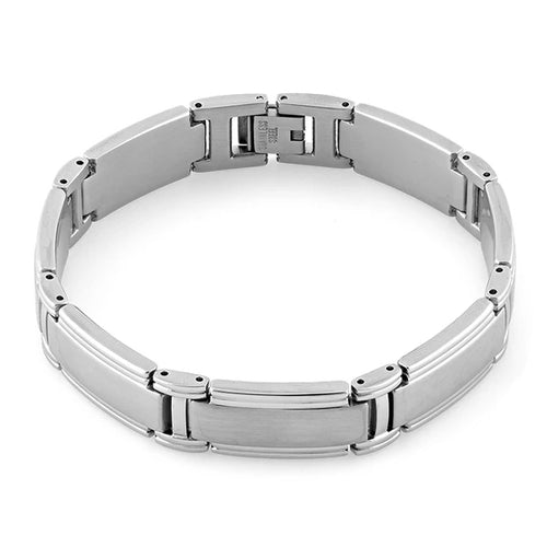 Stainless Steel Wide Link Bracelet