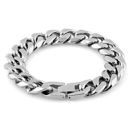 Stainless Steel Flat Curb Link Bracelet