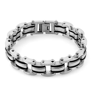 Stainless Steel Rubber Layered Bracelet