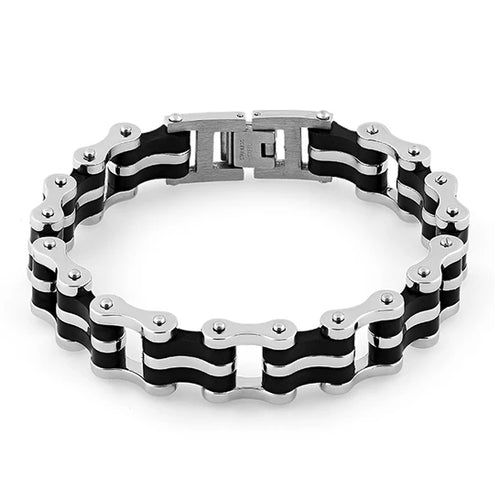 Stainless Steel Biker Black Bracelet