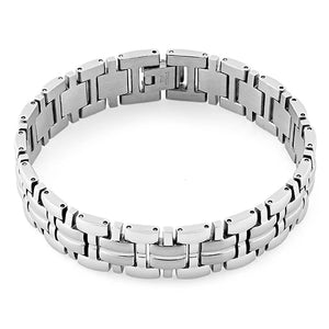 Stainless Steel Thick Groove Square Link Bracelet