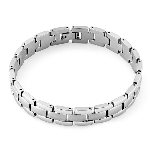 Stainless Steel Block Link Bracelet