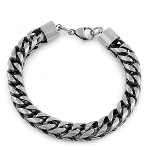 Stainless Steel Antique Finish Curb Bracelet