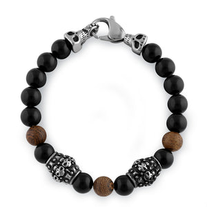 Stainless Steel Bracelet with Black and Jasper Beads