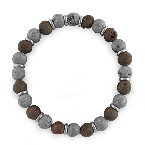 Stainless Steel Brown and Gray Druzy Bead Bracelet