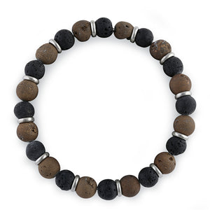 Stainless Steel Black and Brown Druzy Bead Bracelet