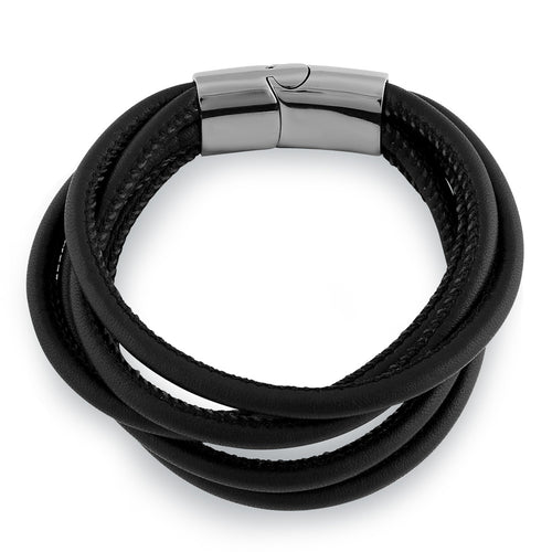 Stainless Steel Layered Black Leather Bracelet