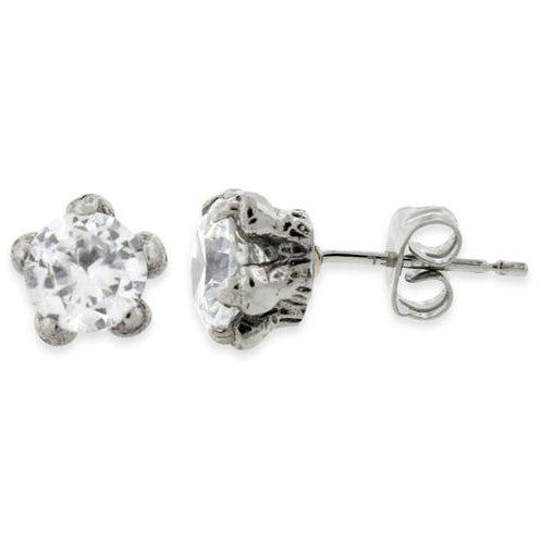 Stainless Steel Claw CZ Stud Earrings