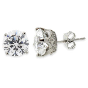 Stainless Steel Crown CZ Stud Earrings