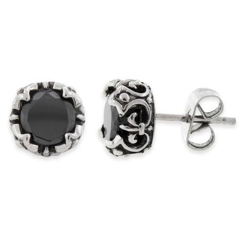 Stainless Steel Crown Black CZ Stud Earrings