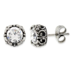 Stainless Steel Crown Clear CZ Stud Earrings