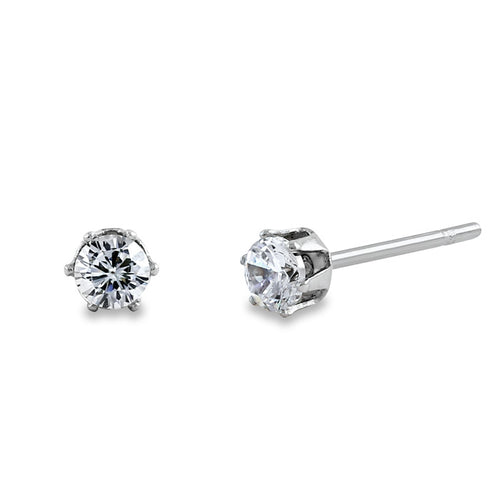 Stainless Steel Round CZ Stud Earrings 4mm