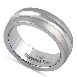 Stainless Steel Men's 7mm Brushed Polish Wedding Band