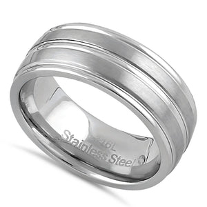 Stainless Steel Men's 8mm Brushed Polish with Grooves Wedding Band