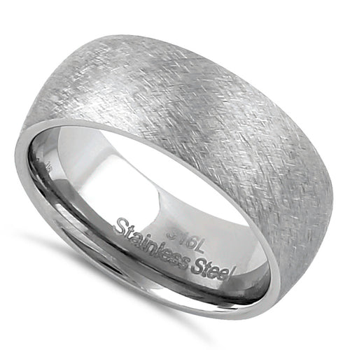 Stainless Steel Men's 8mm Mixed Brushed Rounded Wedding Band