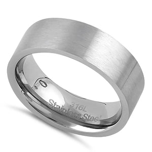 Stainless Steel Men's 7mm Brushed Wedding Band