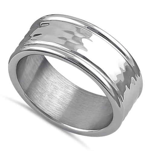Stainless Steel Men's Textured Wedding Band