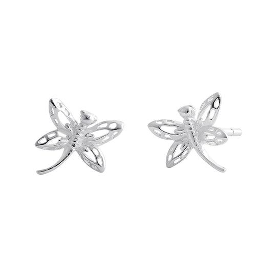 Sterling Silver Flying Dragonfly Stud Earrings
