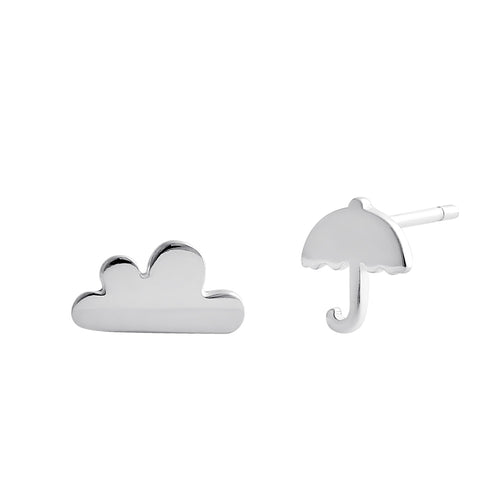 Sterling Silver Rainy Day Cloud and Umbrella Stud Earrings