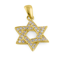 Load image into Gallery viewer, Solid 14K Yellow Gold Star of David CZ Pendant