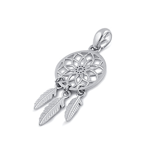 Solid 14K White Gold Dreamcatcher Pendant
