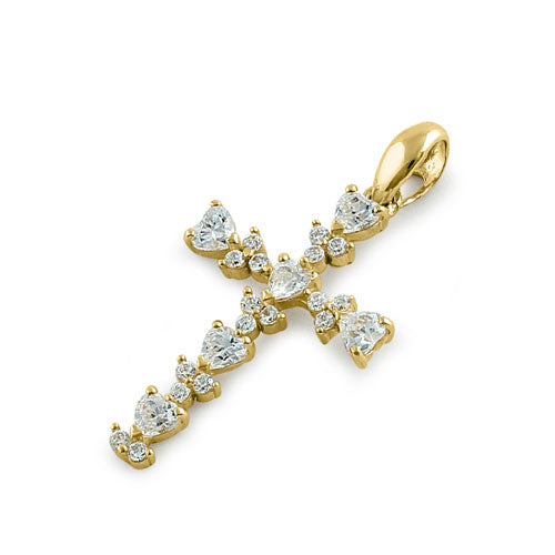 Solid 14K Yellow Gold Round and Heart CZ Pendant
