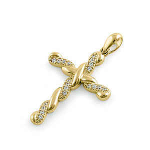Solid 14K Yellow Gold Twist Cross CZ Pendant