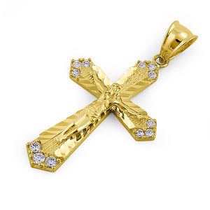 Solid 14K Yellow Gold Jesus Christ on Cross CZ Pendant